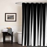 Women Fashion Black And White Shower Curtain Stripped Bath