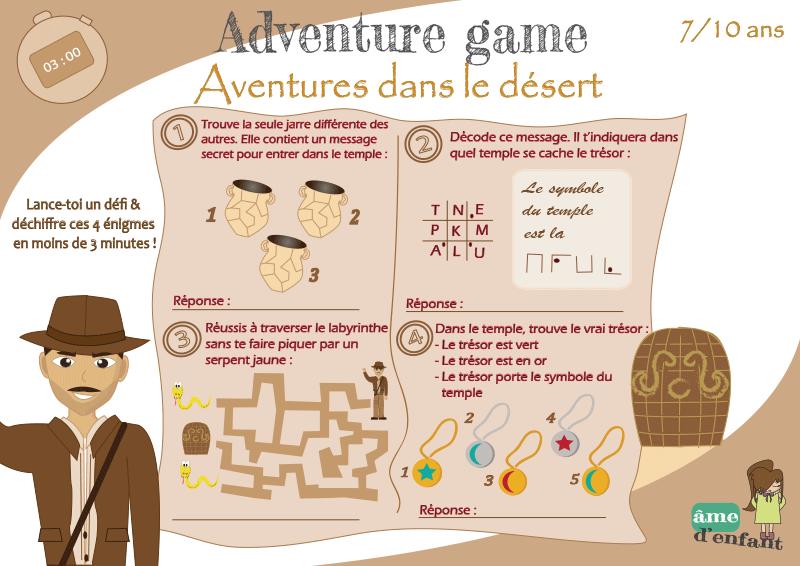 Defi Enigmes A Imprimer Aventures Dans Le Desert Jeux A Imprimer Jeux Aventure Jeux Enquete
