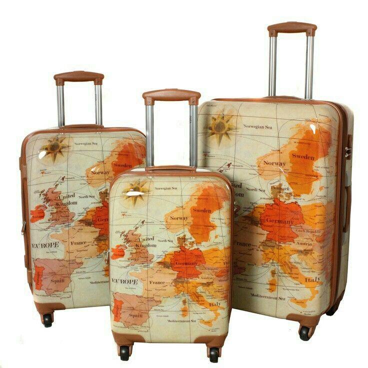 I would love this world map hardcase luggage set luggage pinterest i would love this world map hardcase luggage set gumiabroncs Image collections