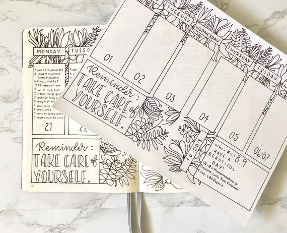 Weekly Planner Printable Bullet Journal Stencil Bullet | Etsy
