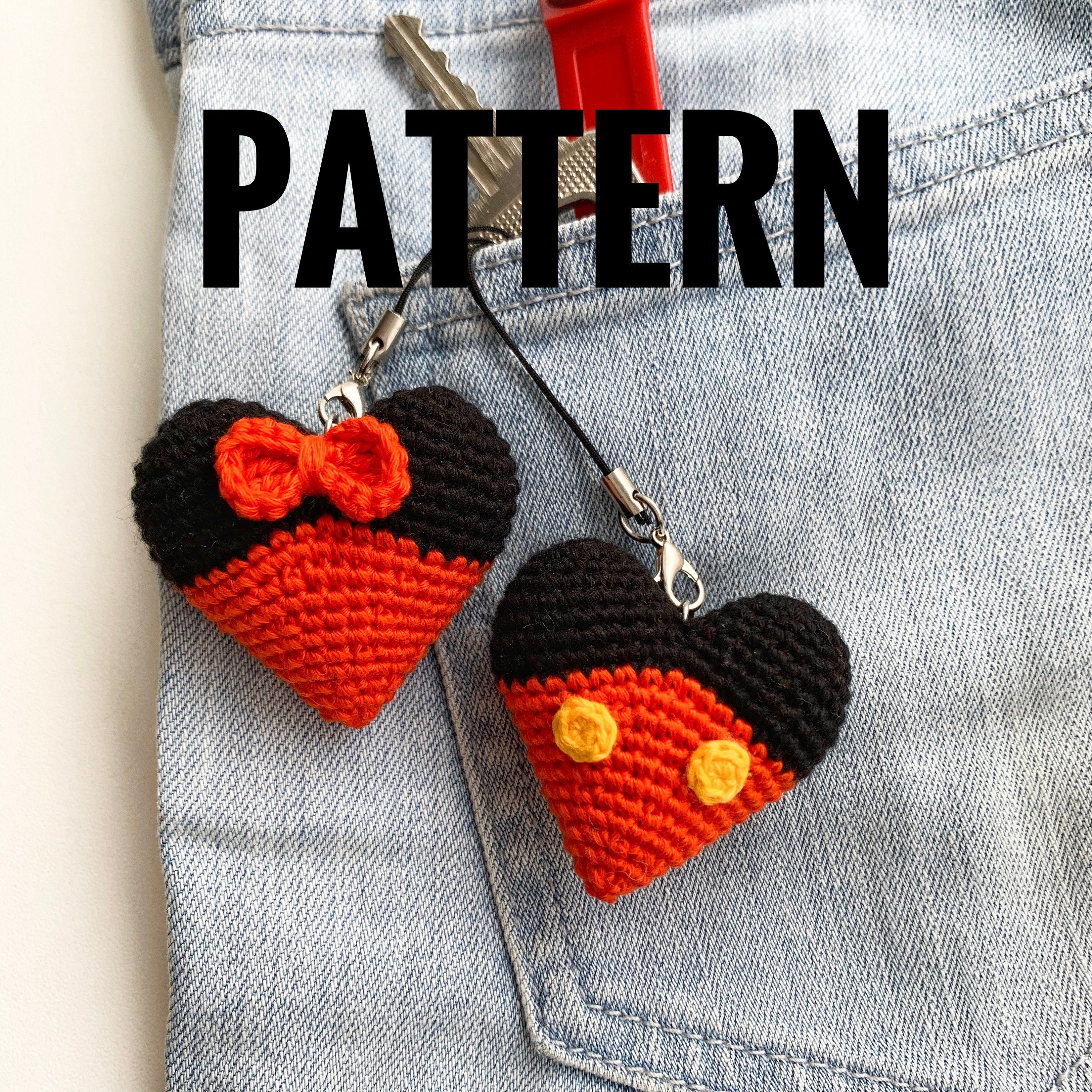 Valentine Mickey and Minnie Mouse crochet pattern Heart Keyring Disney Key Chains Mickey Ornament Valentines gift pdf tutorial