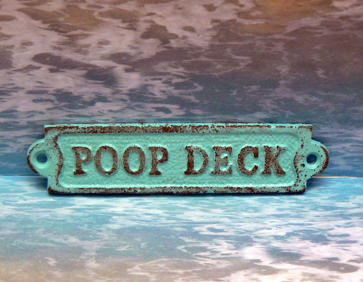 Poop Deck Sign Plaque Cottage Chic Beach Turquoise Blue Wall Decor
