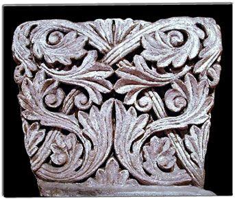 Un tr s beau chapiteau motifs de feuille d 39 acanthe entrelac es - Feuille d acanthe ...