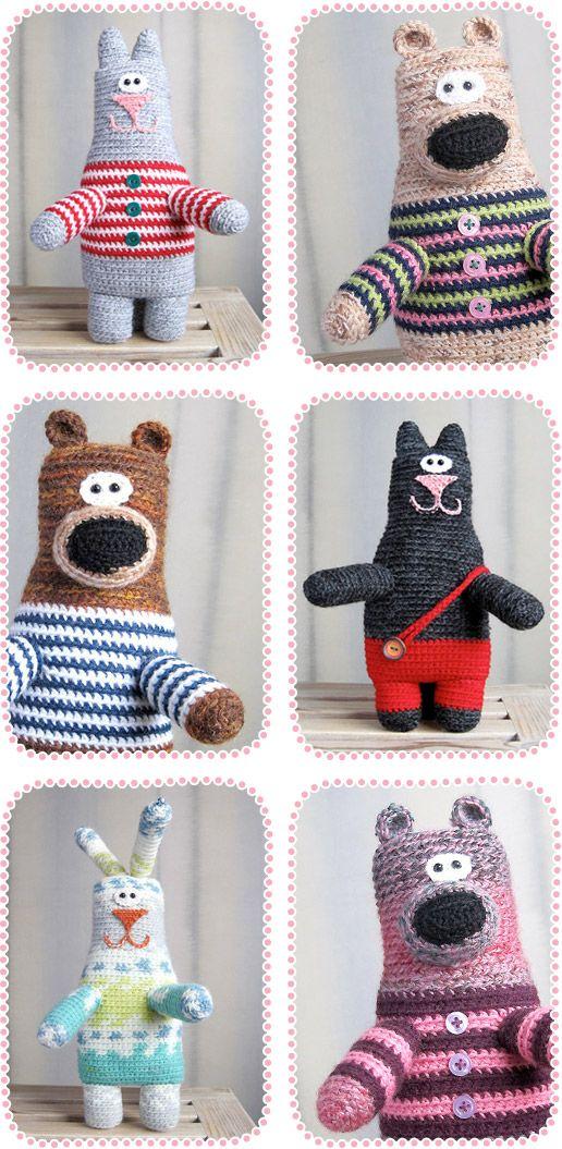 Crocheted Teddy Bears, Bunnies and Cats by Ann Zverrriki | Sugar