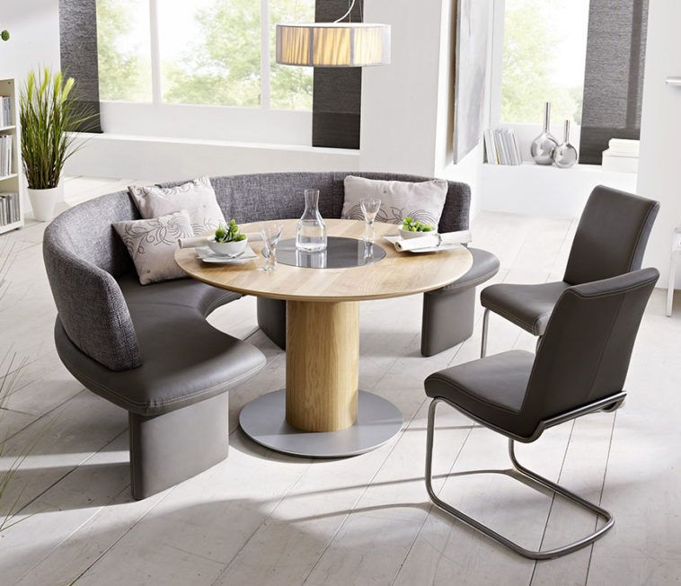 Grey Upholstered Curved Bench With Round Table And Chair ...