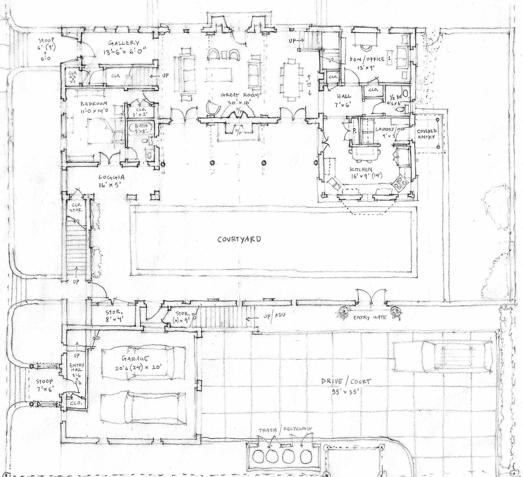 freehand floor plan home pinterest spanish style courtyard
