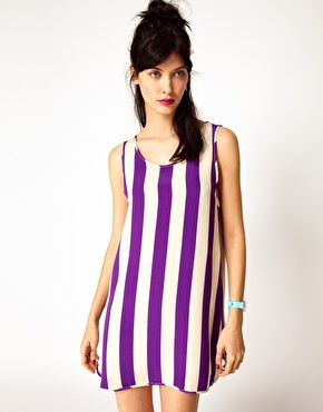 House of Holland   House of Holland Baller Dress in Purple Stripe at ASOS
