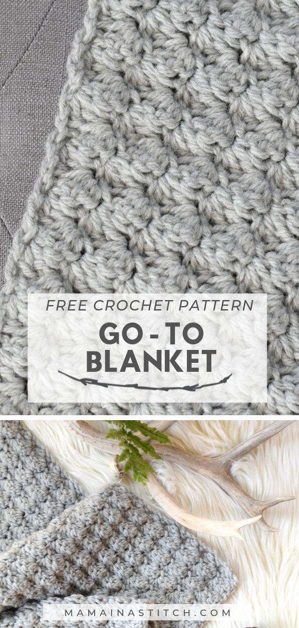 Einfache gehäkelte Decke Go – To Pattern – Stricken ist so einfach wie 1, 2, 3 …