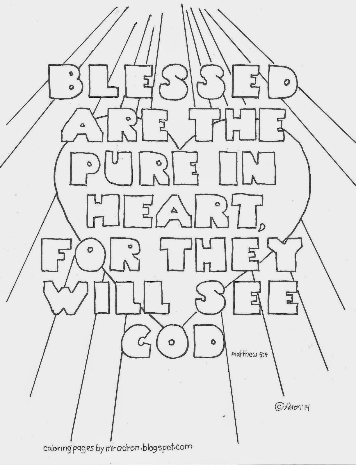 Blessed Are The Pure In Heart Matthew 5 8 Coloring Page Free