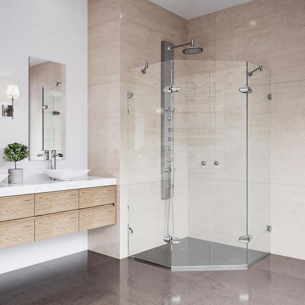 Vigo Gemini 40 In X 73 375 In Frameless Neo Angle Hinged Corner Shower Enclosure In Chrome And Clear Glass Vg6063chcl42 The Home Depot Neo Angle Shower Enclosures Corner Shower Enclosures Frameless Shower Enclosures