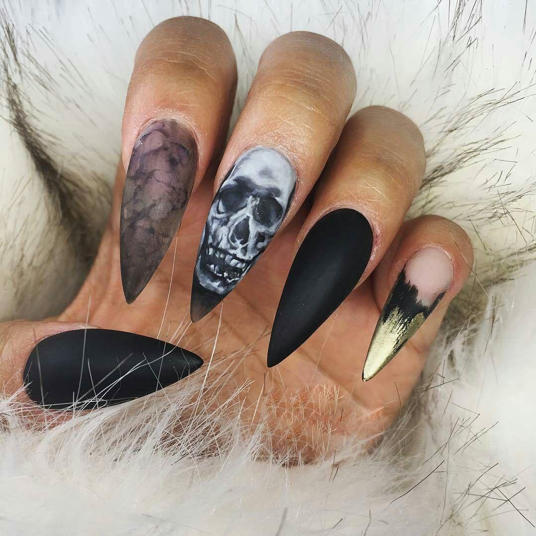 Halloween Skull Nail Arthalloween 3d Acrylic Skull Designsacryl 3d