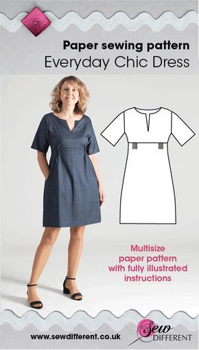 Everyday Chic Dress - Multisize sewing pattern | Chic dress, Sewing ...