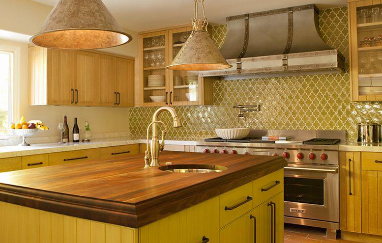Green kitchen. Walker Zanger green ceramic tile backsplash ...