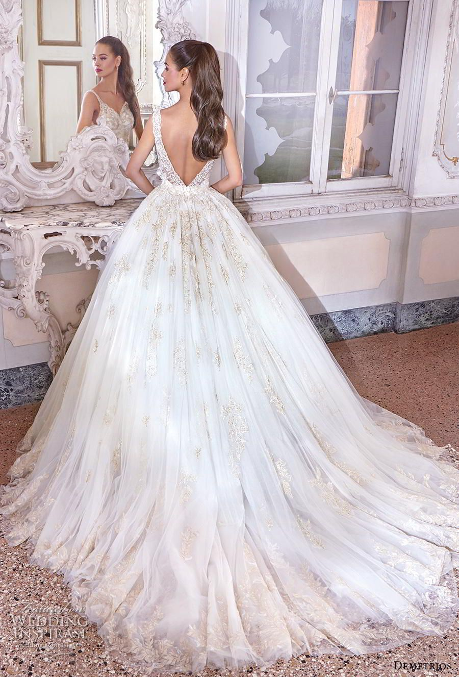 a9bc6a2c242 demetrios 2019 bridal sleeveless deep v neck heavily embellished bodice  glitzy glamorous princess ball gown a line wedding dress backless v back  chapel ...