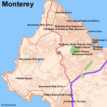 Map of Monterey Attractions   PlanetWare   Monterey/Carmel ...