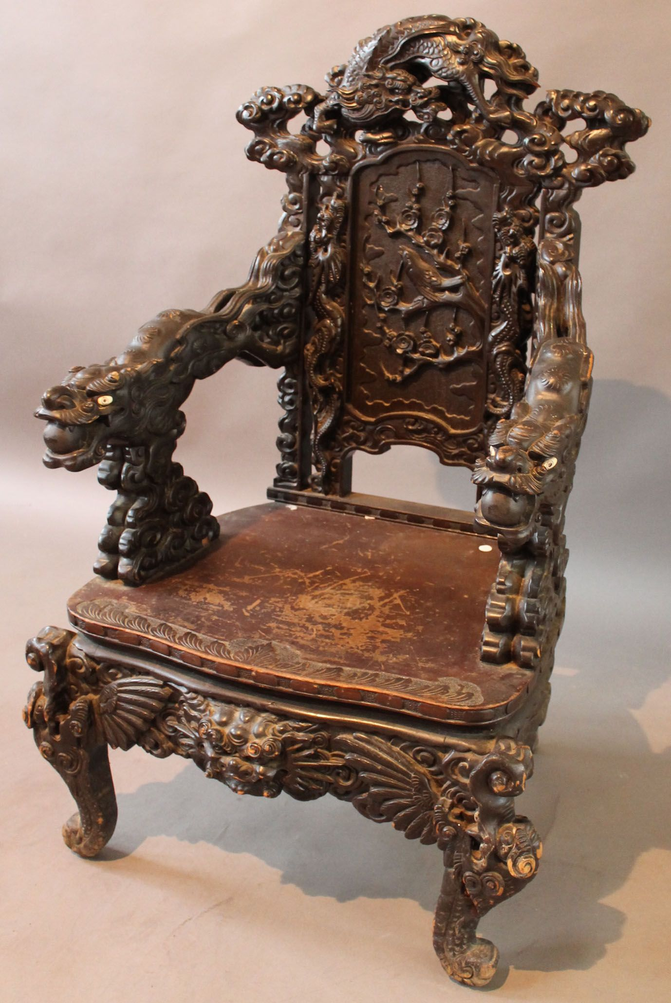 A Chinese Carved Hongmu Style 39 Dragon 39 Throne Chair Early