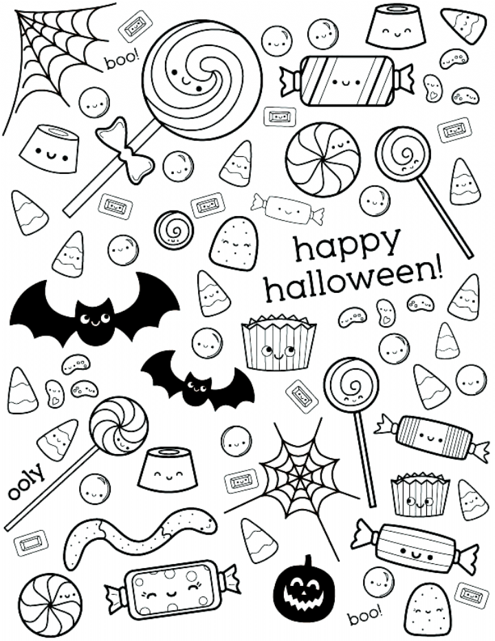 Uncolored Happy Halloween Coloring Page With Candy Designs Coloring In 2020 Halloween Coloring Pages Candy Coloring Pages Halloween Coloring Pages Printable
