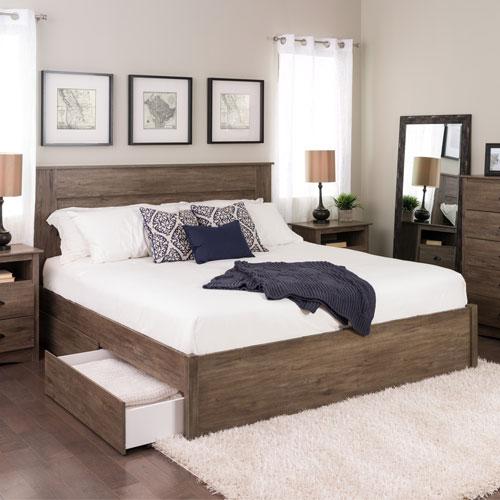 Select Modern Platform Bed With 4 Drawer Storage King Drifted Grey Best Buy Canada Bedroom Design Furniture Modern Platform Bed