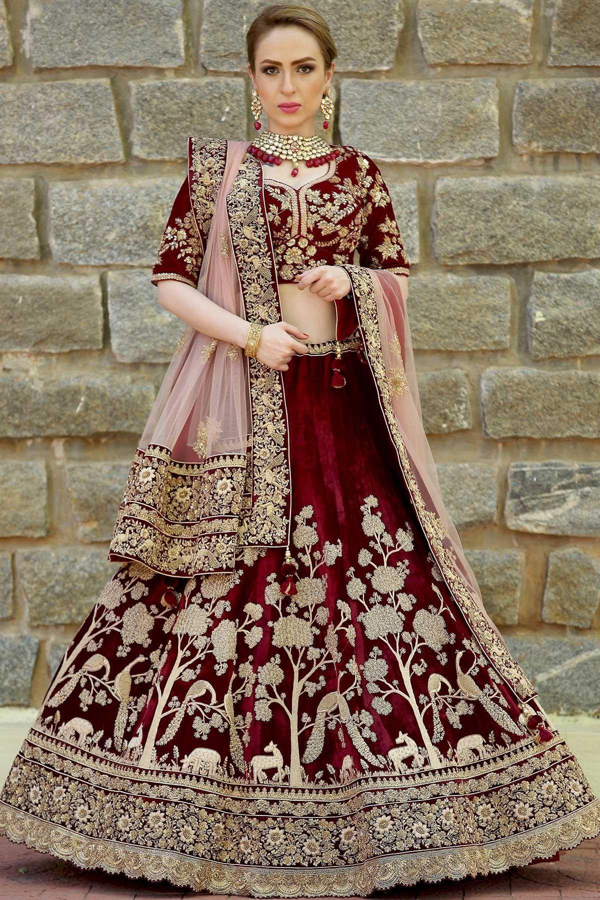 4b0b231461ed Buy Maroon Velvet Zardosi Embroidered Bridal Lehenga Online Anarkali Bridal,  Designer Bridal Lehenga, Party