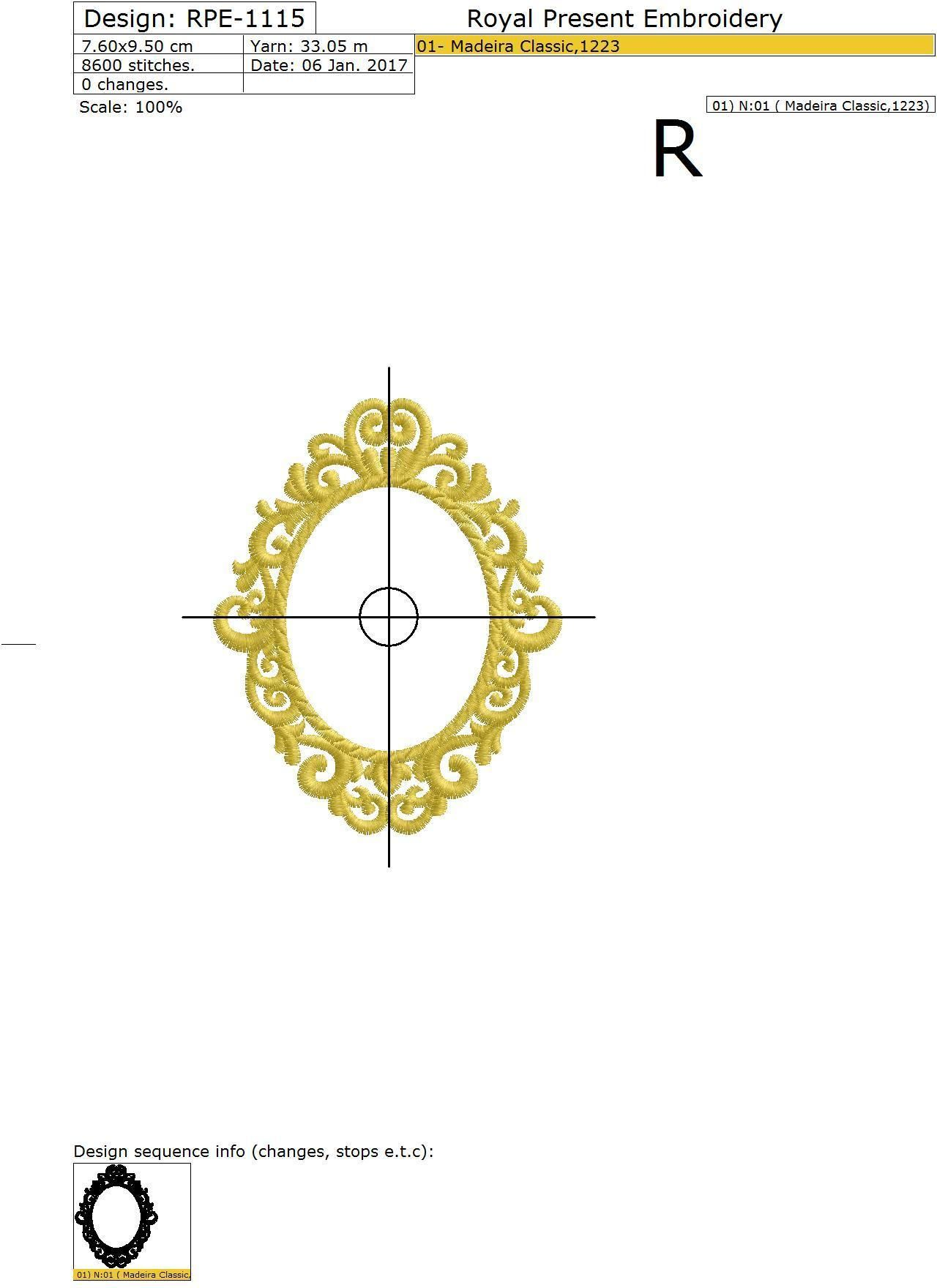 Machine embroidery design gold monogram blank 2 sizes