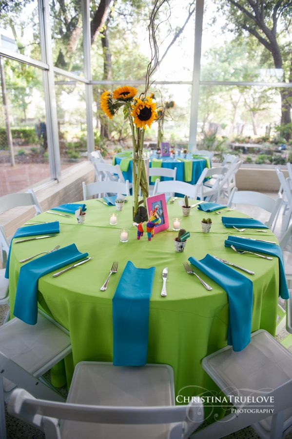 Texas Discovery Gardens Colorful Mexican Themed Wedding Reception