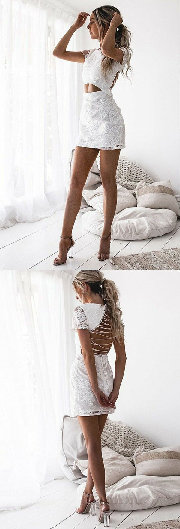 13451f0675b Sheath Round Neck Short Sleeves Lace-Up White Lace Short Homecoming ...