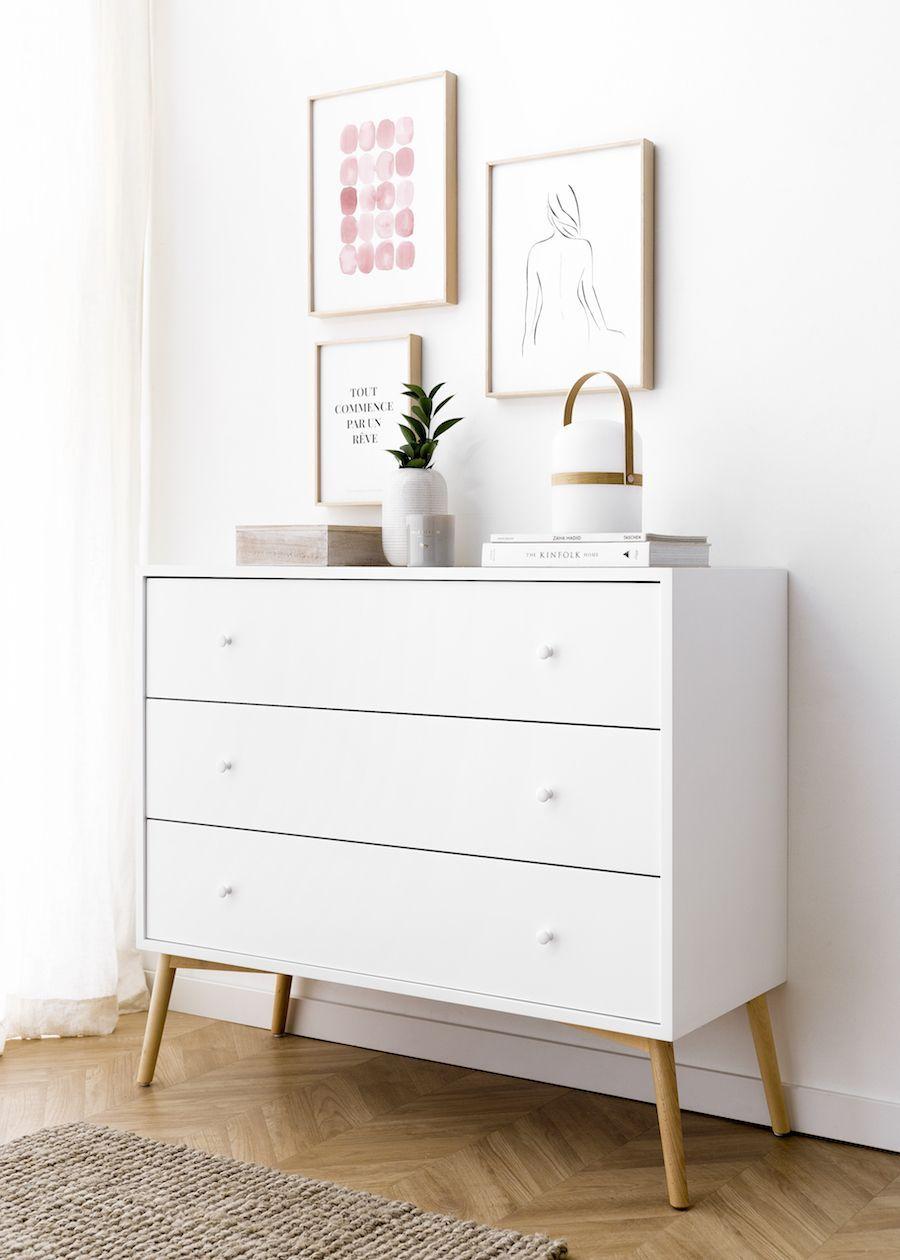 Tilo Cómoda Retro Cajones Blanca Y Natural Comodas Dormitorio Muebles Comodas Dormitorios