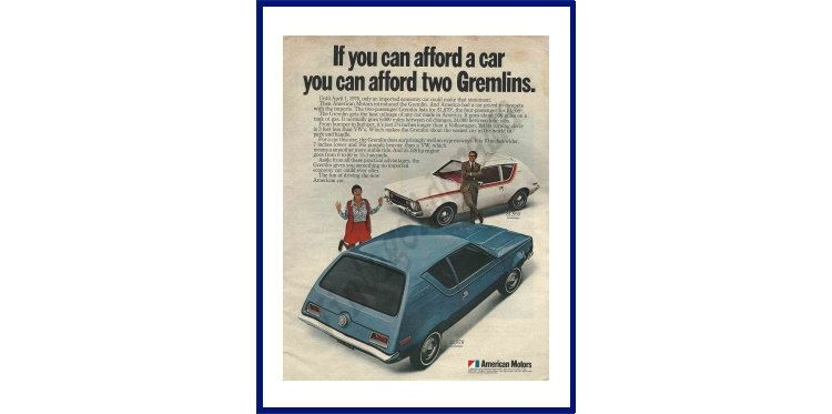 """AMERICAN MOTORS Gremlin Automobile Original 1970 Vintage Extra Large Color Print Ad - """"If You Can Afford A Car You Can Afford Two Gremlins."""" by VintageAdOrama on Etsy"""