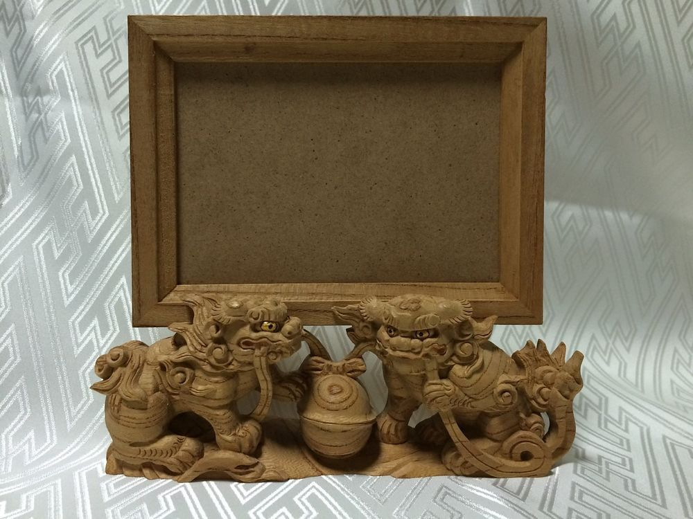 SHISHI#01 SHRINES Wood Carving LC(89x127mm) Picture Frames PHOTO STAND of Japan