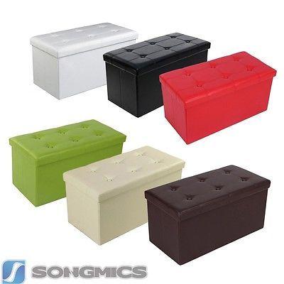 Faltbarer-Sitzhocker-Sitzwuerfel-Aufbewahrungsbox-Ottomane-Hocker-Farbwahl