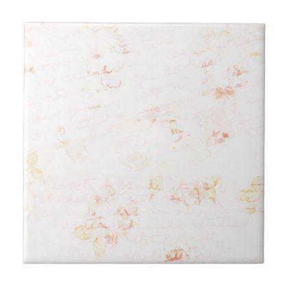 Romantic Vintage Pink Peach Letters Ceramic Tile - women woman style - gift letters