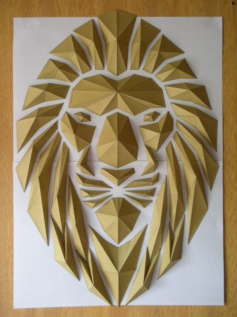 Lion's Head. Origami. DIY with his templates…