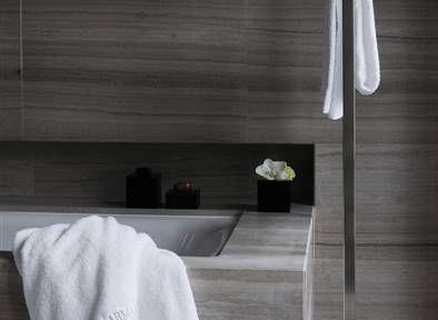 Armani Hotel Milano. Bathrooms in Silk Georgette stone by Salvatori