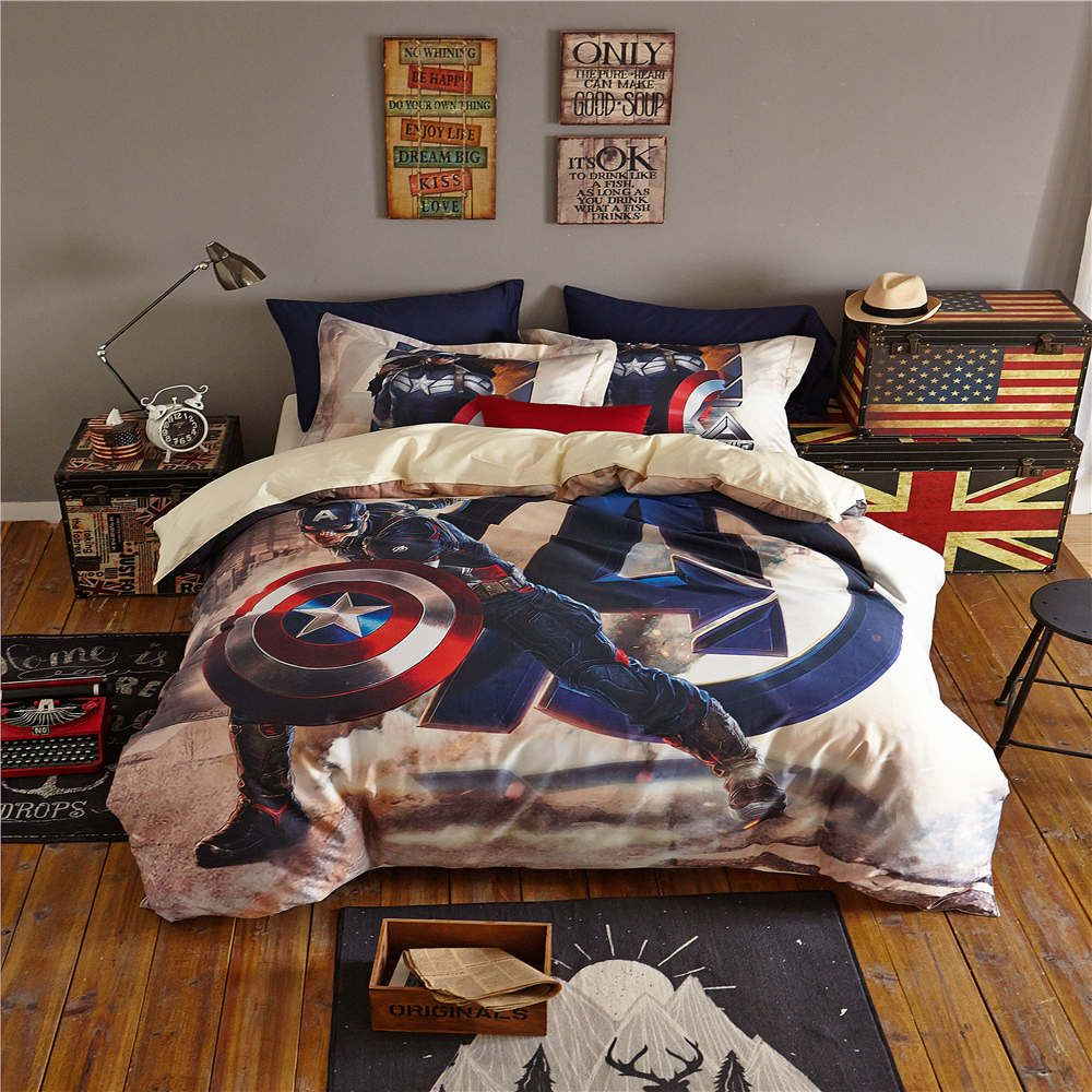 Captain America The First Avenger Printed Bedding Set Bedspread Comforter Duvet Covers Single Twin