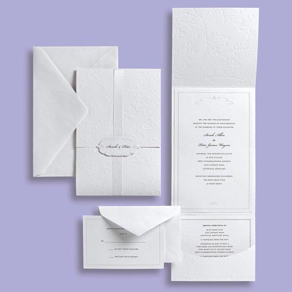 white premium invite kit brides 76207 - Brides Wedding Invitation Kits