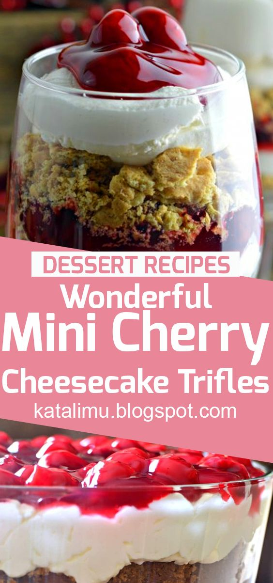 Wonderful Mini Cherry Cheesecake Trifles | cake recipe, dessert recipes, chocolate cake recipe, carrot cake recipe, chocolate cake, easy cake recipes, cheesecake recipe, easy dessert recipes, baking recipes, sponge cake recipe, simple cake recipe, fruit cake recipe, vanilla cake recipe, pound cake recipe, chocolate recipes.