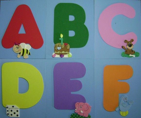 Alfabeto Ilustrado Para Varal Ou Movel Feito Em Eva Com Os