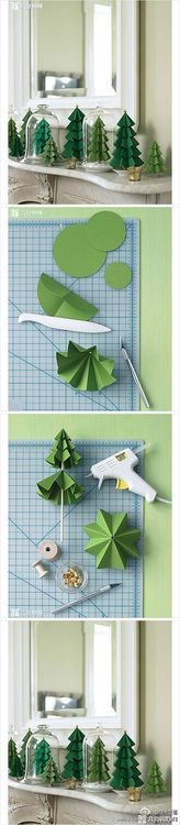 How to make paper craft Christmas trees step by step DIY tutorial