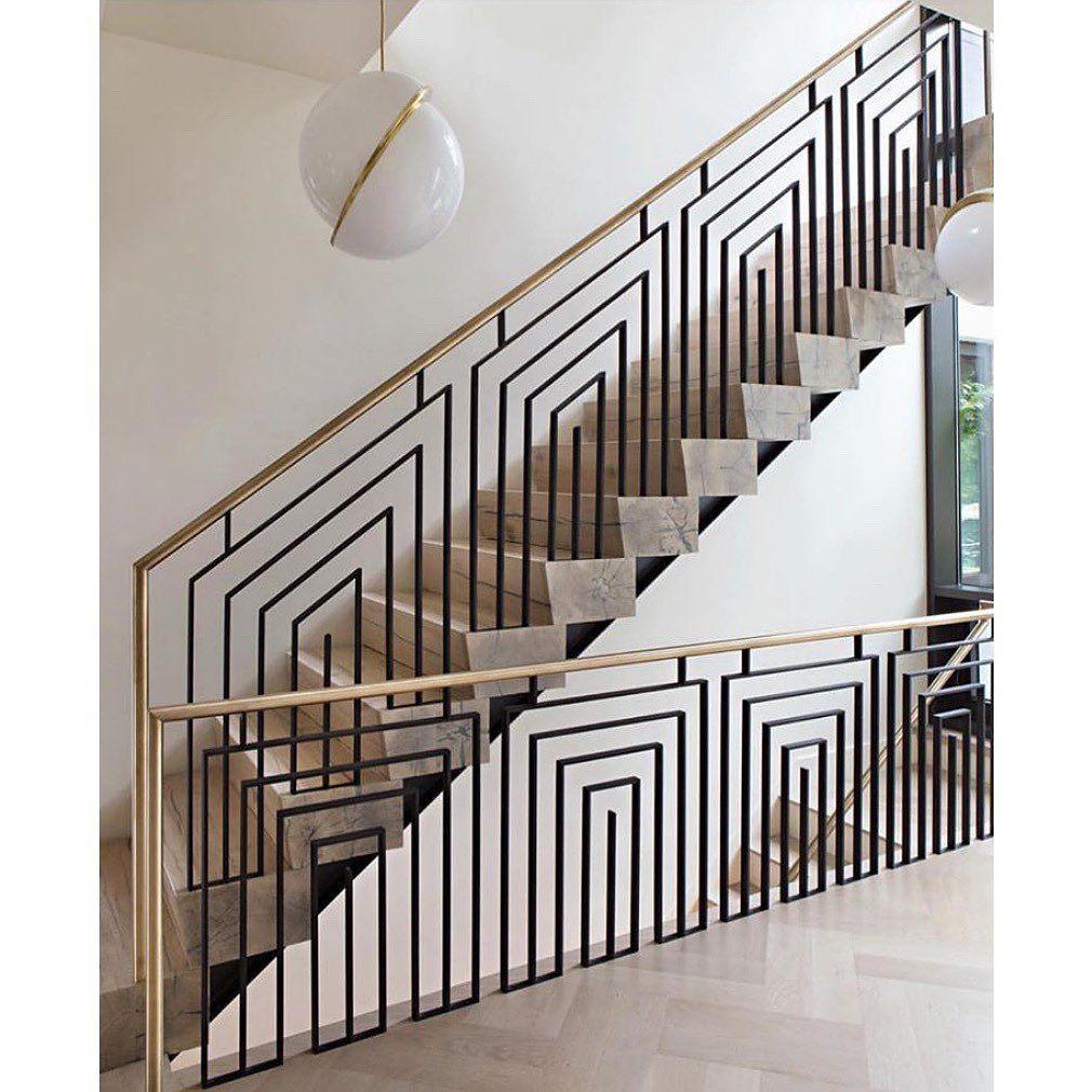 Art deco style geometric simplicity metal railing ...