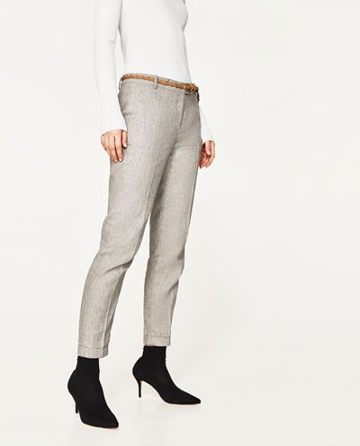 Todo Pantalones Pantalón Lino Ver MujerZara Cinturón 0n8OXwPk
