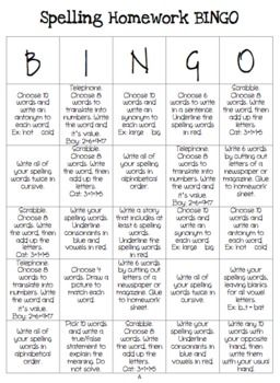 Spelling Bingo Activities