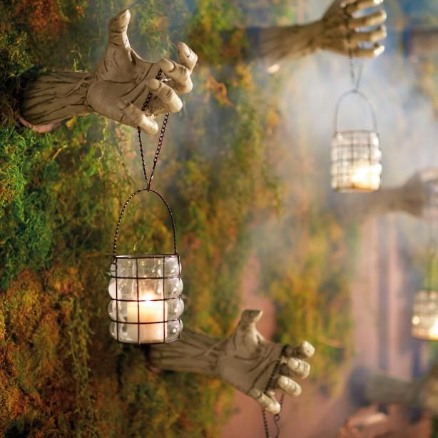 Creepy Hands with Lanterns, Set of Two Creepy Conservatory - indoor halloween decoration ideas