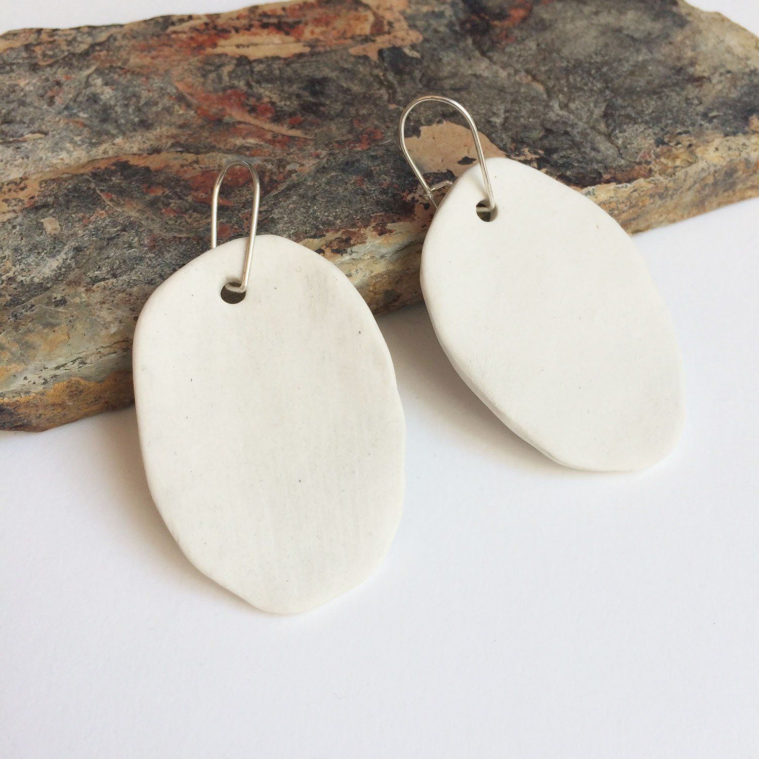 Simple Recycled Silver Eco Chic Earrings Turquoise Oval Dangle Earrings Minimal Contemporary Oval Earrings