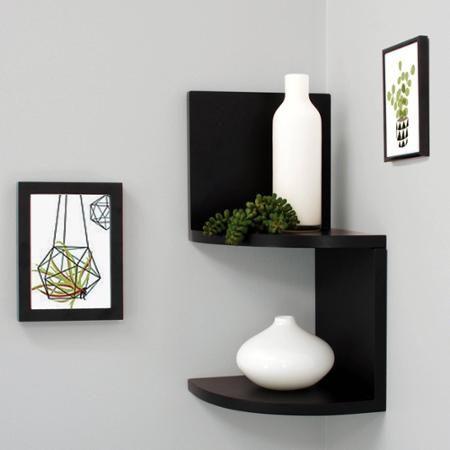 Kiera Grace Priva 7 Corner Shelves Black Set Of 2 Walmart Com Corner Shelves Black Corner Shelf Corner Shelf Design