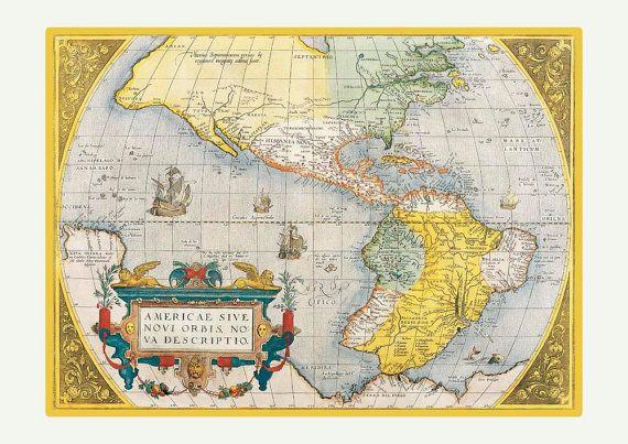Karte von Americas Grafik GROßDRUCK 1575 von PrintLand auf Etsy