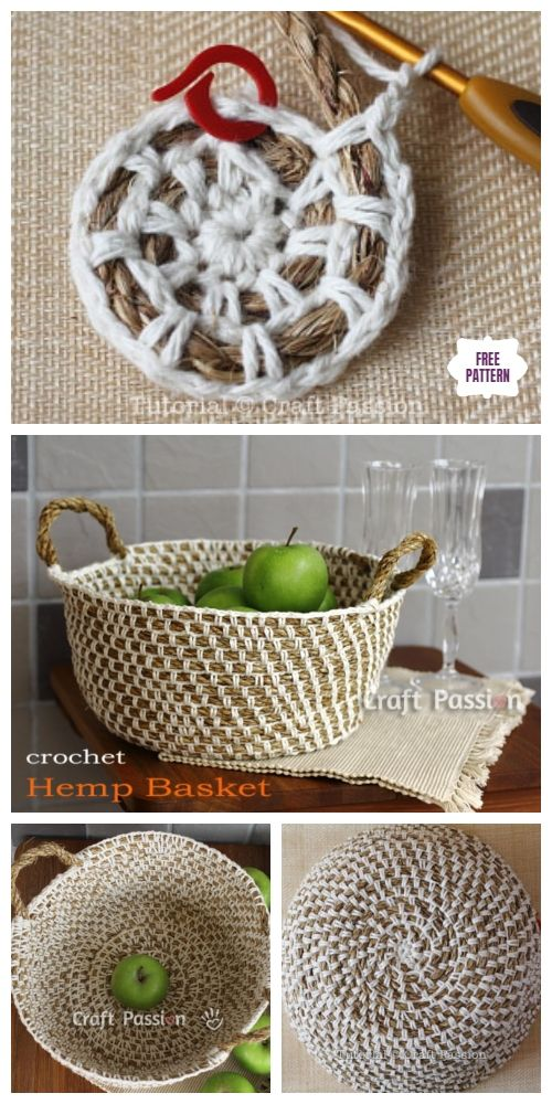 Photo of Crochet Hemp Rope Basket Free Pattern