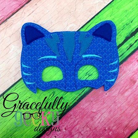 Cat Boypj Blue Mask Embroidery Design 5x7 Hoop Or Larger
