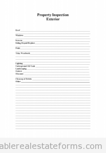 Sample Printable Property Inspection Exterior Form  Printable