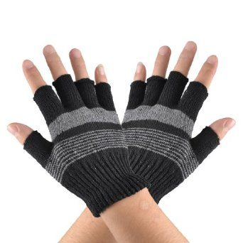 Allegra K Boys Black Gray Striped Wave Pattern Acrylic Writing Fingerless Gloves Pair Allegra K. $4.26