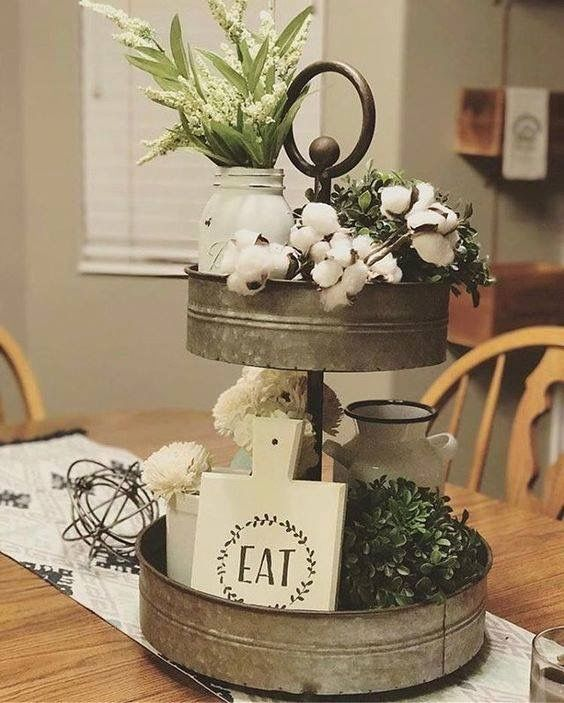 Tiered stand rustic kitchen remodeling pinterest for Small kitchen table centerpiece ideas